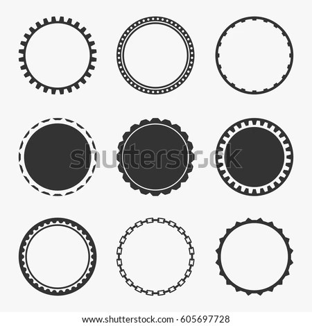 Classic Vintage Round Banners Set Isolated Stock Vector (Royalty