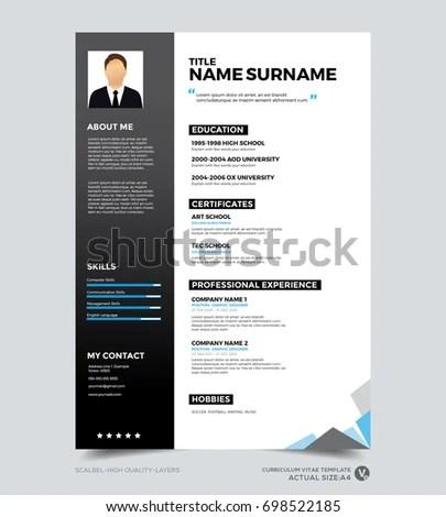 Clean Modern Design Template Resume CV Stock Vector (Royalty Free