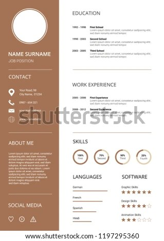 Clean Modern Resume CV Template Icons Stock Vector (Royalty Free