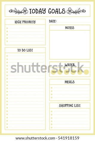 Clean Style Daily Planner Vector Template Stock Vector (Royalty Free