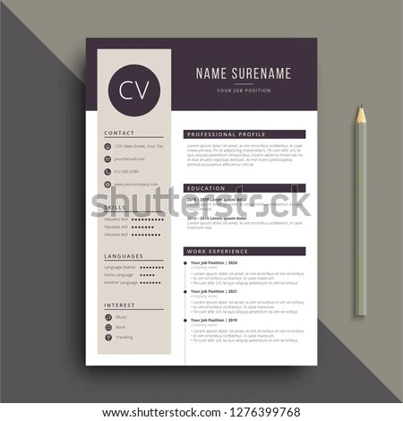 Clear Modern Professional Resume CV Template Stock Vector (Royalty