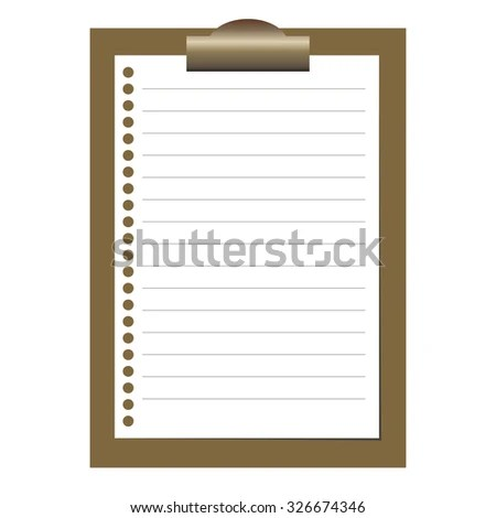 Clipboard White Blank Paper Lined Paper Stock Vector (Royalty Free