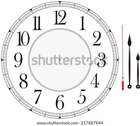 Clock Face Template Hour Minute Second Stock Vector (Royalty Free