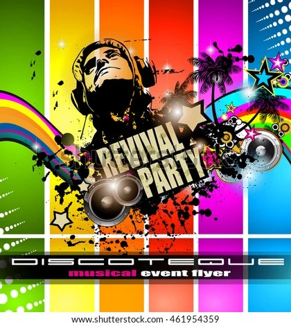 Club Disco Flyer Template Music Elements Stock Vector (Royalty Free