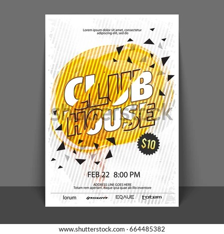 Club House Music Party Flyer Template Stock Vector (Royalty Free