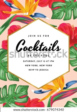 Cocktail Party Invitation Tropical Theme Tropical Stock Vector