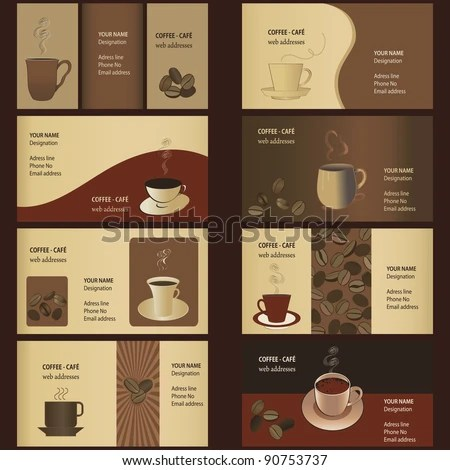 Coffee Business Card Templates 8 Set Stock Vector (Royalty Free