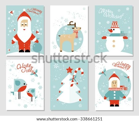 Collection 6 Christmas Card Templates Santa Stock Vector (Royalty