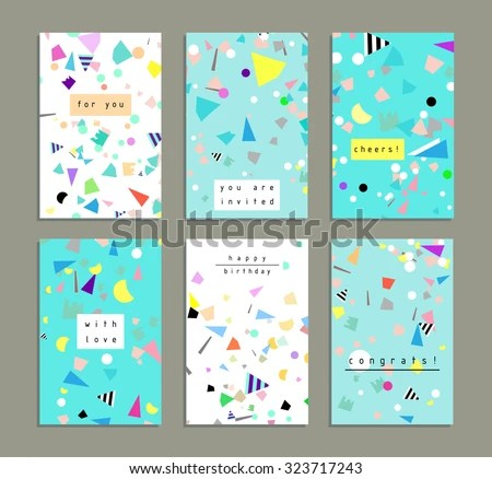 Collection Party Cards Invitations Birthday Backgrounds Stock Vector