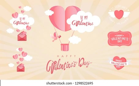 Collection Valentines Day Greeting Cards Hand Stock Vector (Royalty