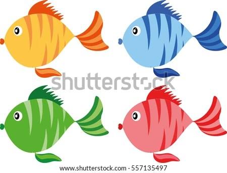 Color Fish Cartoon Icon Stock Vector (Royalty Free) 557135497