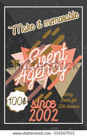 Color Vintage Agency Banner Events Special Stock Vector (Royalty