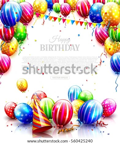 Colorful Balloons Confetti Isolated On White Stock Vector (Royalty