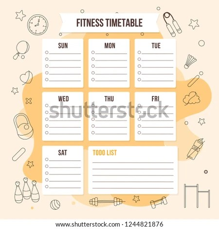 Colorful Fitness Timetable Weekly Schedule Template Stock Vector