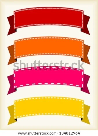 Colorful Ribbon Banners Empty Banner Template Stock Vector (Royalty