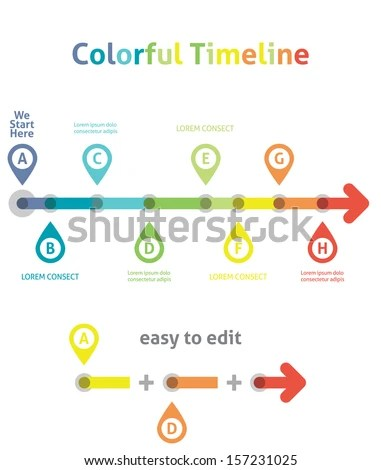 Colorful Timeline Infographic Template Easy Edit Stock Vector