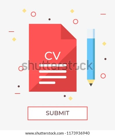 Colorful Vector Illustration Submitting CV Resume Stock Vector