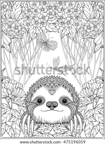 Coloring Page Lovely Sloth Forest Coloring Stock Vector (Royalty