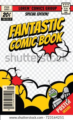 Comic Book Cover Vector Template Comic Stock Vector (Royalty Free