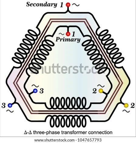 Common Delta Delta Transformer Connections Stock Vector (Royalty
