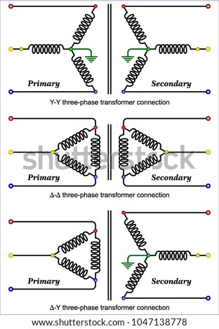 Common Wye Delta Transformer Connections Stock Vector (Royalty Free