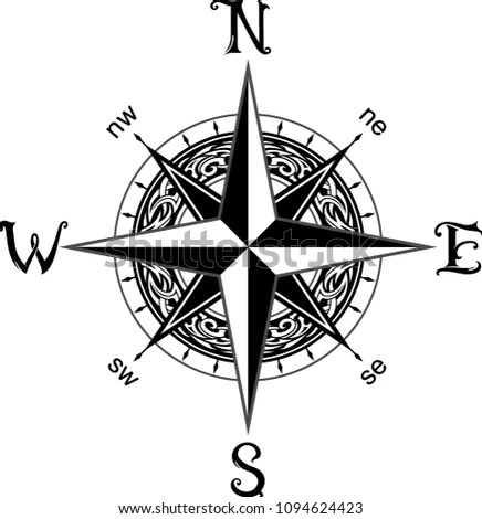 Compass Tattoo Design Stock Vector (Royalty Free) 1094624423
