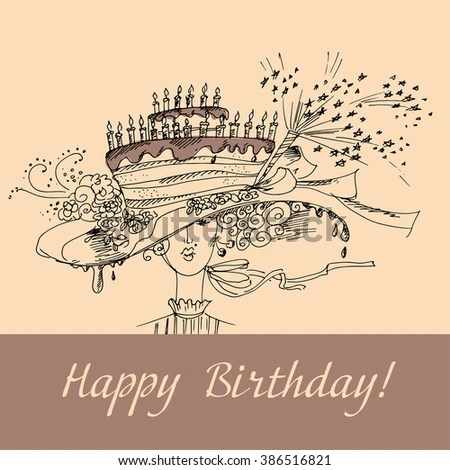Concept Style Birthday Card Lady Cake Stock Vector (Royalty Free