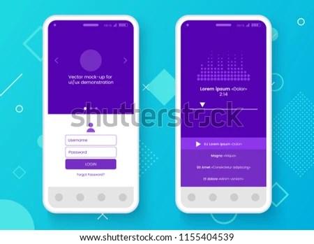 Conceptual Mobile Phone Mockup App Interface Stock Vector (Royalty