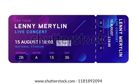 Concert Entrance Vector Ticket Templates Party Stock Vector (Royalty