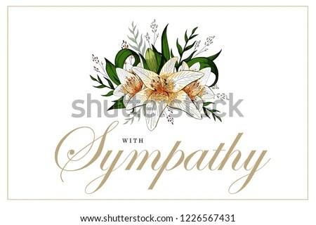 Condolences Sympathy Card Floral Lily Bouquet Stock Vector (Royalty