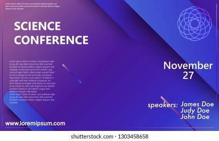 Science Conference Invitation Design Template Flyer Stock Vector