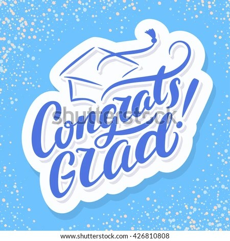 Congrats Grad Congratulations Graduate Banner Stock Vector (Royalty