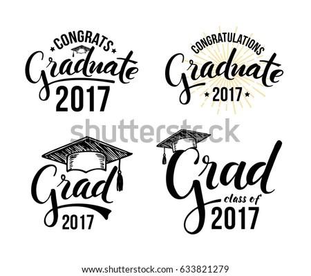 Congratulations Graduate 2017 Set Graduation Labels Stock Vector