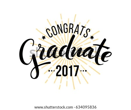 Congratulations Graduate 2017 Vector Isolated Elements Stock Vector