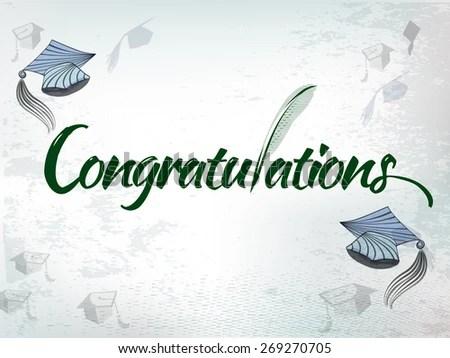 Congratulations Graduation Background Graduation Hats Stock Vector