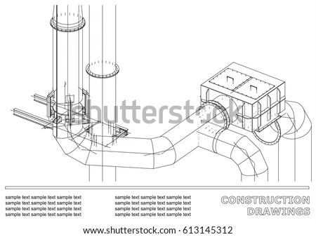Construction Drawings 3 D Metal Construction Pipes Stock Vector