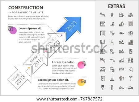 Construction Timeline Infographic Template Elements Icons Stock