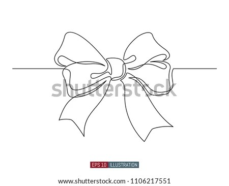 Continuous Line Drawing Decorative Ribbon Bow Stock Vector (Royalty