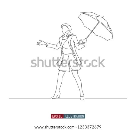 Continuous Line Drawing Girl Umbrella Template Stock Vector (Royalty