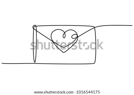 Continuous Line Drawing Love Letter Heart Stock Vector (Royalty Free