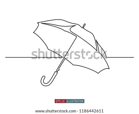 Continuous Line Drawing Umbrella Template Your Stock Vector (Royalty