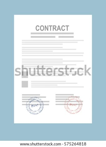 Contract Agreement Paper Blank Seal Vector Stock Vector (Royalty