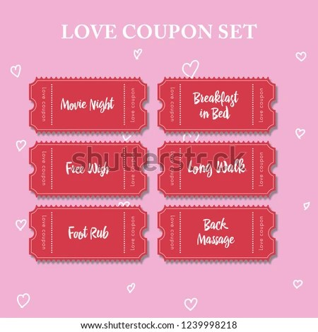 Coupon Book Boyfriend Valentine Cards Example Stock Vector (Royalty