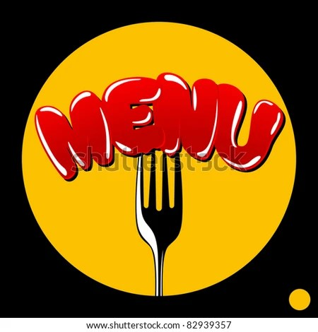 Cover Menu Word Menu Punctured Fork Stock Vector (Royalty Free