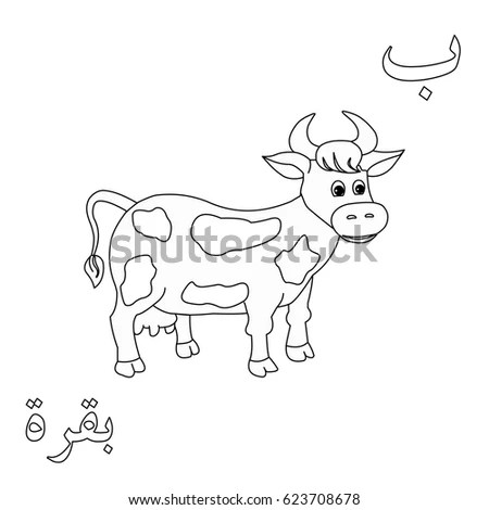 Cow Coloring Arabic Letters Arabic Word Stock Vector (Royalty Free