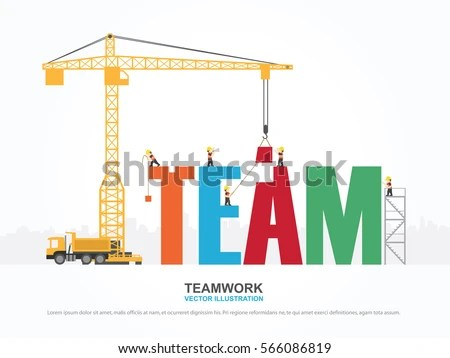 Crane Team Building Infographic Template Vector Stock Vector