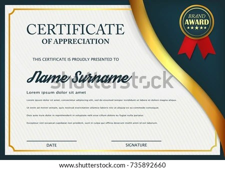 Creative Certificate Appreciation Award Template Certificate Stock