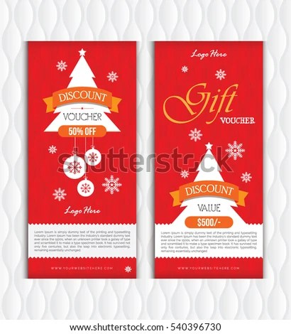 Creative Christmas Gift Voucher Template Design Stock Vector