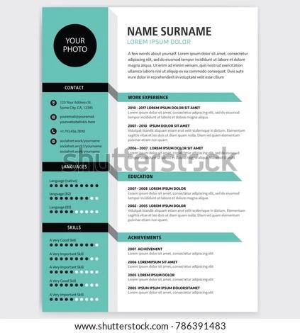 Creative CV Resume Template Teal Green Stock Vector (Royalty Free