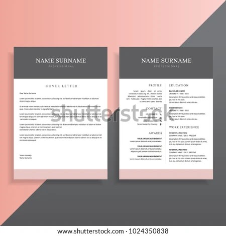 Creative Professional 2 Page Resume CV Stock Vector (Royalty Free